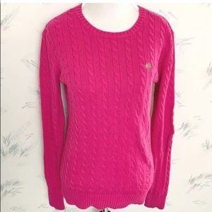 Lilly Pulitzer Pink Cable Knit Sweater Crew 2BB52